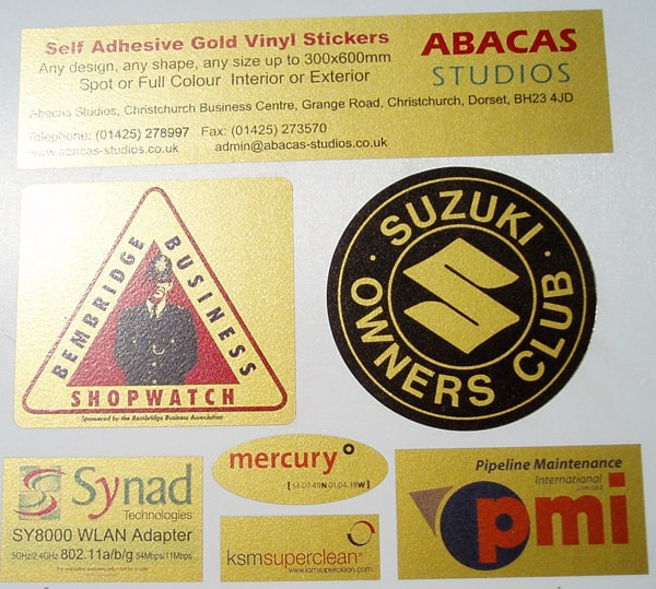Gold Vinyl Stickers and Labels